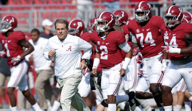 Nov 12, 2016; Tuscaloosa, AL, USA; Alabama Crimson Tide head coach Nick Saban brings his team onto the field prior to the playing Mississippi State Bulldogs at Bryant-Denny Stadium. Photo Credit: Marvin Gentry-USA TODAY Sports
