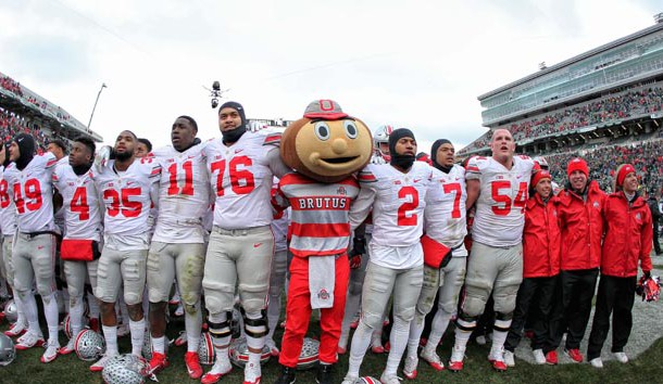 Nov 19, 2016; East Lansing, MI, USA;  Ohio State Buckeyes celebrate a win over the Michigan State Spartans after a game at Spartan Stadium. Photo Credit: Mike Carter-USA TODAY Sports
