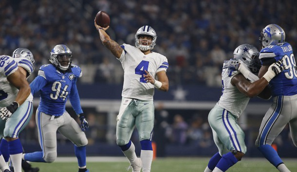 Dec 26, 2016; Arlington, TX, USA;  Dallas Cowboys quarterback Dak Prescott (4) throws a touchdown pass in the second quarter against the Detroit Lions at AT&T Stadium. Photo Credit: Tim Heitman-USA TODAY Sports