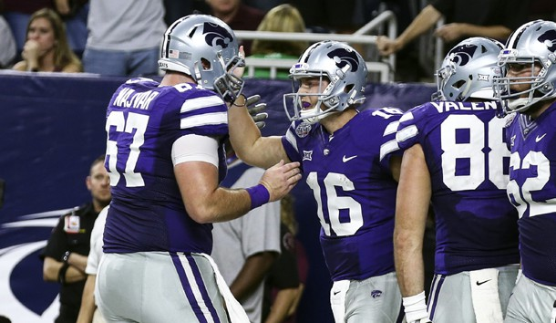 Dec 28, 2016; Houston, TX, USA; Kansas State Wildcats quarterback Jesse Ertz (16) celebrates with offensive lineman Reid Najvar (67) after scoring a touchdown during the second quarter against the Texas A&M Aggies at NRG Stadium. Photo Credit: Troy Taormina-USA TODAY Sports