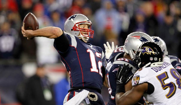 Dec 12, 2016; Foxborough, MA, USA;  New England Patriots quarterback Tom Brady (12) throws against the Baltimore Ravens during the second half at Gillette Stadium. Photo Credit: Stew Milne-USA TODAY Sports