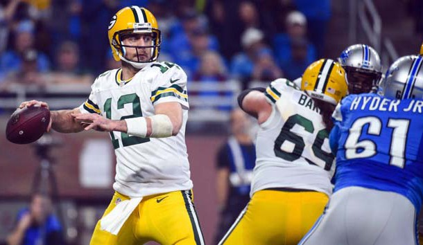 Jan 1, 2017; Detroit, MI, USA; Green Bay Packers quarterback Aaron Rodgers (12) drops back to pass during the third quarter against the Detroit Lions at Ford Field. Photo Credit: Tim Fuller-USA TODAY Sports