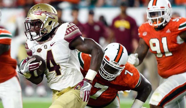 Oct 8, 2016; Miami Gardens, FL, USA; Florida State Seminoles running back Dalvin Cook (4) carries the ball during the first half against Miami Hurricanes at Hard Rock Stadium. Photo Credit: Steve Mitchell-USA TODAY Sports