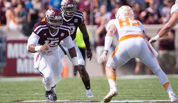 Oct 8, 2016; College Station, TX, USA; Texas A&M Aggies defensive lineman Myles Garrett (15) in action during the game against the Tennessee Volunteers at Kyle Field. The Aggies defeat the Volunteers 45-38 in overtime. Photo Credit: Jerome Miron-USA TODAY Sports
