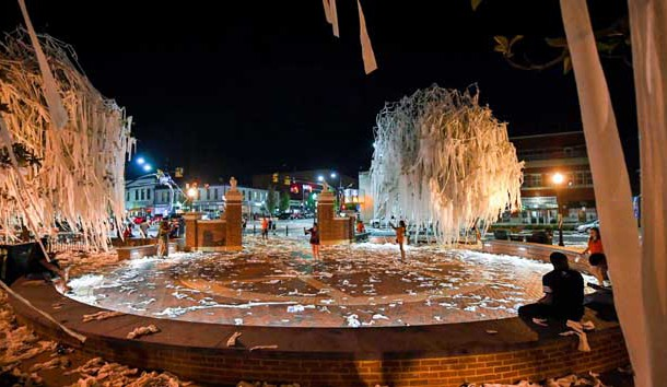 Sep 10, 2016; Auburn, AL, USA; View of the Toomer's Corner trees after they were rolled following the game between the Auburn Tigers and the Arkansas State Red Wolves at Jordan Hare Stadium. The Tigers beat the Red Wolves 51-14. Photo Credit: Shanna Lockwood-USA TODAY Sports