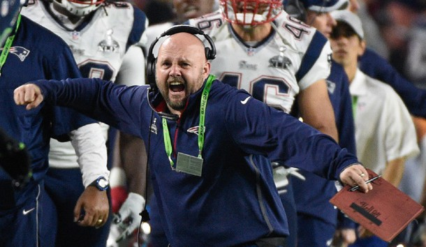 Feb 1, 2015; Glendale, AZ, USA; New England Patriots tight ends coach Brian Daboll during Super Bowl XLIX  against the Seattle Seahawks at University of Phoenix Stadium. The Patriots defeated the Seahawks 28-24. Photo Credit: Kyle Terada-USA TODAY Sports