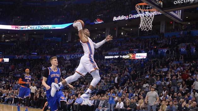 Westbrook triple-double lifts Thunder past Knicks