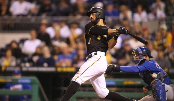 Sep 26, 2016; Pittsburgh, PA, USA;  Pittsburgh Pirates second baseman Sean Rodriguez (3) singles against the Chicago Cubs during the sixth inning at PNC Park. Photo Credit: Charles LeClaire-USA TODAY Sports