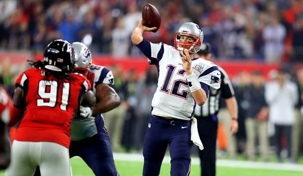 Feb 5, 2017; Houston, TX, USA; New England Patriots quarterback Tom Brady (12) against the Atlanta Falcons during Super Bowl LI at NRG Stadium. Photo Credit: Mark J. Rebilas-USA TODAY Sports