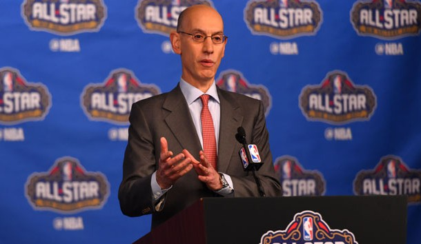 Feb 18, 2017; New Orleans, LA, USA; NBA commissioner Adam Silver speaks to the media during the Commissioner Press Conference at Smoothie King Center. Photo Credit: Bob Donnan-USA TODAY Sports