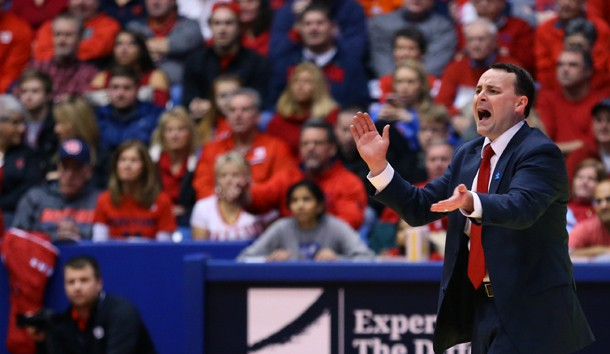 Feb 4, 2017; Dayton, OH, USA; Dayton Flyers head coach Archie Miller works the bench against the Duquesne Dukes in the first half at the University of Dayton Arena. The Flyers won 90-53. Photo Credit: Aaron Doster-USA TODAY Sports