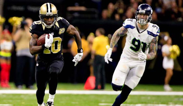 Oct 30, 2016; New Orleans, LA, USA; New Orleans Saints wide receiver Brandin Cooks (10) runs past Seattle Seahawks defensive end Cassius Marsh (91) during the fourth quarter of a game at the Mercedes-Benz Superdome. The Saints defeated the Seahawks 25-20. Photo Credit: Derick E. Hingle-USA TODAY Sports
