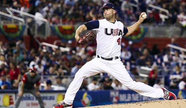Mar 12, 2017; Miami, FL, USA; USA pitcher Danny Duffy (41) throws a pitch in the second inning against Canada during the 2017 World Baseball Classic at Marlins Park. Photo Credit: Logan Bowles-USA TODAY Sports