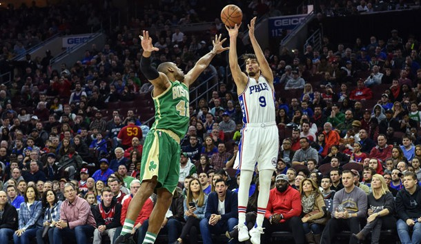 Mar 19, 2017; Philadelphia, PA, USA; Philadelphia 76ers forward Dario Saric (9) shoots the ball as Boston Celtics center Al Horford (42) defends during the fourth quarter of the game at the Wells Fargo Center. The 76ers won 105-99. Photo Credit: John Geliebter-USA TODAY Sports