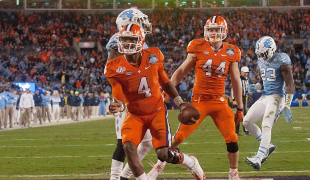 Dec 5, 2015; Charlotte, NC, USA; Clemson Tigers quarterback Deshaun Watson (40 scores a touchdown in the fourth quarter against the North Carolina Tar Heels in the ACC football championship game at Bank of America Stadium. Mandatory Credit: Jeremy Brevard-USA TODAY Sports