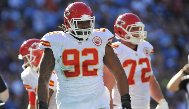 Nov 22, 2015; San Diego, CA, USA; Kansas City Chiefs nose tackle Dontari Poe (92) reacts after scoring a touchdown during the first half of the game against the San Diego Chargers at Qualcomm Stadium. Kansas City won 33-3. Photo Credit: Orlando Ramirez-USA TODAY Sports