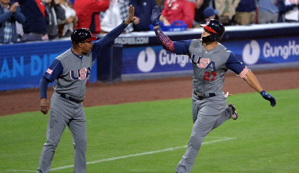Mar 18, 2017; San Diego, CA, USA; United States outfielder Giancarlo Stanton (27) rounds the bases after hitting a two run home run during the fourth inning against the Dominican Republic during the 2017 World Baseball Classic at Petco Park. Photo Credit: Orlando Ramirez-USA TODAY Sports