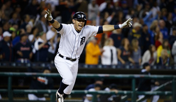 Jun 7, 2016; Detroit, MI, USA; Detroit Tigers second baseman Ian Kinsler (3) celebrates after hitting a game winning RBI single in the 10th inning against the Toronto Blue Jays at Comerica Park. Detroit won 3-2 in ten innings. Photo Credit: Rick Osentoski-USA TODAY Sports