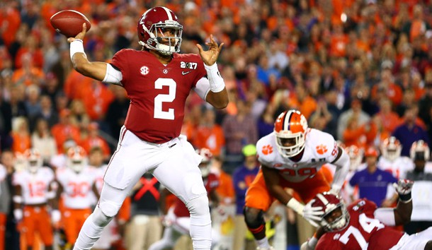 Jan 9, 2017; Tampa, FL, USA; Alabama Crimson Tide quarterback Jalen Hurts (2) throws a pass during the first quarter against the Clemson Tigers in the 2017 College Football Playoff National Championship Game at Raymond James Stadium. Photo Credit: Mark J. Rebilas-USA TODAY Sports