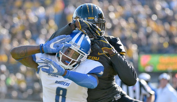 Oct 22, 2016; Columbia, MO, USA; Middle Tennessee Blue Raiders cornerback Jeremy Cutrer (8) breaks up a pass intended for Missouri Tigers wide receiver J'Mon Moore (6) during the first half at Faurot Field. Photo Credit: Denny Medley-USA TODAY Sports