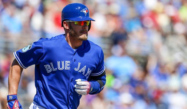 Mar 20, 2017; Dunedin, FL, USA; Toronto Blue Jays third baseman Josh Donaldson (20) runs to first after a hit in the sixth inning of a baseball game against the Minnesota Twins during spring training at Florida Auto Exchange Stadium. Photo Credit: Butch Dill-USA TODAY Sports
