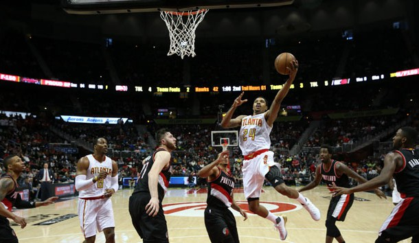 Mar 18, 2017; Atlanta, GA, USA; Atlanta Hawks forward Kent Bazemore (24) attempts a shot in the second quarter of their game against the Portland Trail Blazers at Philips Arena. Photo Credit: Jason Getz-USA TODAY Sports