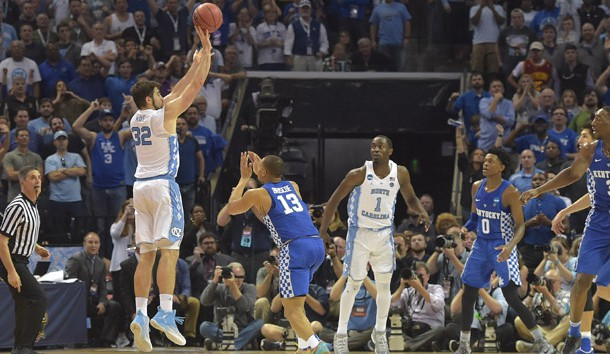 Mar 26, 2017; Memphis, TN, USA; Mar 26, 2017; Memphis, TN, USA; North Carolina Tar Heels forward Luke Maye (32) makes a basket with .3 seconds left over Kentucky Wildcats guard Isaiah Briscoe (13)  in the second half during the finals of the South Regional of the 2017 NCAA Tournament at FedExForum. North Carolina  won 75-73. Photo Credit: Justin Ford-USA TODAY Sports