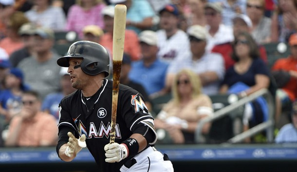 Feb 28, 2017; Jupiter, FL, USA; Miami Marlins third baseman Martin Prado (14) at bat against the New York Mets during a spring training game at Roger Dean Stadium. Photo Credit: Steve Mitchell-USA TODAY Sports