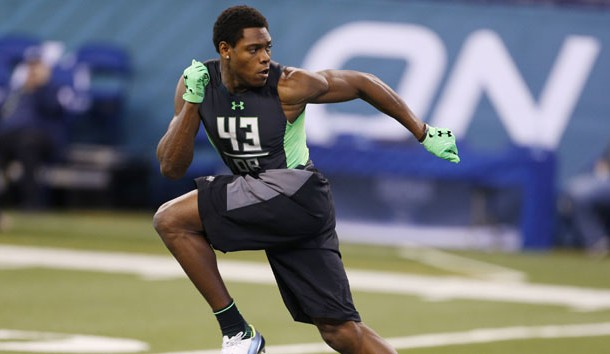 Feb 29, 2016; Indianapolis, IN, USA; Florida State Seminoles defensive back Jalen Ramsey goes through a workout drill during the 2016 NFL Scouting Combine at Lucas Oil Stadium. Photo Credit: Brian Spurlock-USA TODAY Sports