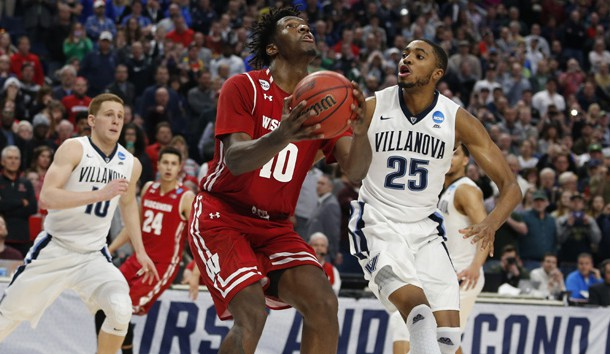 Mar 18, 2017; Buffalo, NY, USA; Wisconsin Badgers forward Nigel Hayes (10) drives to the basket against Villanova Wildcats guard Mikal Bridges (25) in the second half during the second round of the 2017 NCAA Tournament at KeyBank Center. Photo Credit: Timothy T. Ludwig-USA TODAY Sports