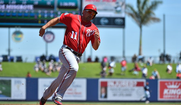 Mar 15, 2017; West Palm Beach, FL, USA; Washington Nationals first baseman Ryan Zimmerman (11) rounds third base to score on a triple by center fielder Michael Taylor (3, not pictured) against the Houston Astros during a spring training game at The Ballpark of the Palm Beaches. Photo Credit: Jasen Vinlove-USA TODAY Sports