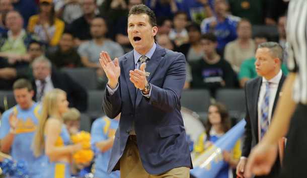 Mar 17, 2017; Sacramento, CA, USA; UCLA Bruins head coach Steve Alford reacts against the Kent State Golden Flashes in the first round of the 2017 NCAA Tournament at Golden 1 Center. Photo Credit: Kelley L Cox-USA TODAY Sports