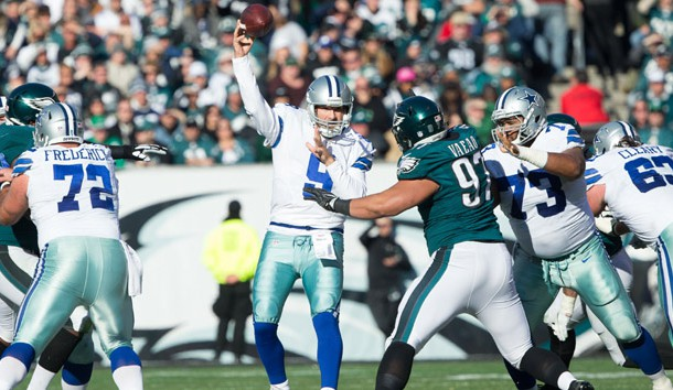 Jan 1, 2017; Philadelphia, PA, USA; Dallas Cowboys quarterback Tony Romo (9) passes the ball against the Philadelphia Eagles during the second quarter at Lincoln Financial Field. Photo Credit: Bill Streicher-USA TODAY Sports