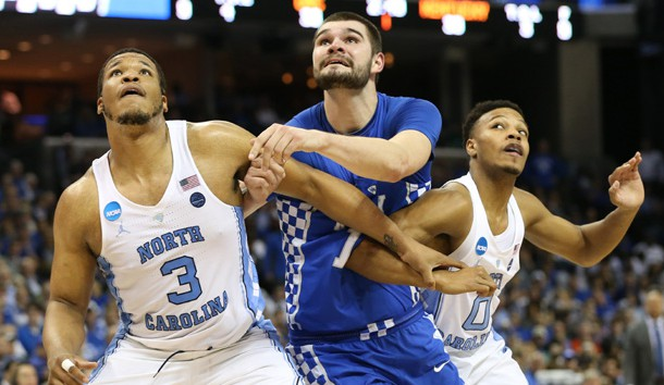 Mar 26, 2017; Memphis, TN, USA; North Carolina Tar Heels forward Kennedy Meeks (3) and guard Nate Britt (0) box out against Kentucky Wildcats forward Isaac Humphries (15) in the first half during the finals of the South Regional of the 2017 NCAA Tournament at FedExForum. Photo Credit: Nelson Chenault-USA TODAY Sports