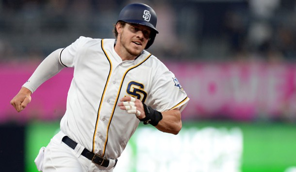 May 2, 2016; San Diego, CA, USA; San Diego Padres first baseman Wil Myers (4) rounds third on his way to score during the first inning against the Colorado Rockies at Petco Park. Photo Credit: Jake Roth-USA TODAY Sports