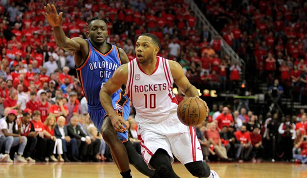 Apr 19, 2017; Houston, TX, USA; Houston Rockets guard Eric Gordon (10) drives to the basket while Oklahoma City Thunder forward Jerami Grant (9) defends during the fourth quarter in game two of the first round of the 2017 NBA Playoffs at Toyota Center. Photo Credit: Erik Williams-USA TODAY Sports