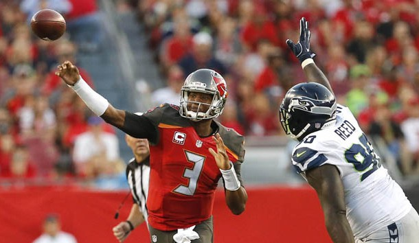Nov 27, 2016; Tampa, FL, USA; Tampa Bay Buccaneers quarterback Jameis Winston (3) throws a pass as Seattle Seahawks defensive tackle Jarran Reed (90) closes in during the second quarter of an NFL football game at Raymond James Stadium. Photo Credit: Reinhold Matay-USA TODAY Sports