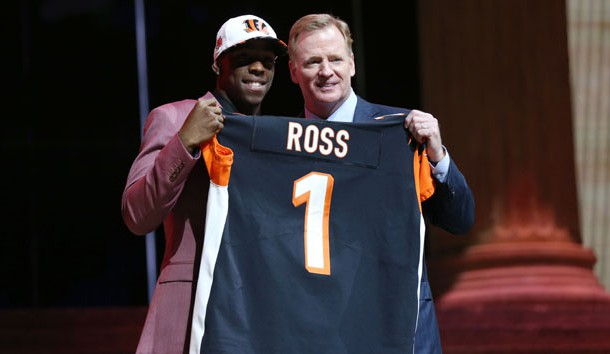 Apr 27, 2017; Philadelphia, PA, USA; John Ross (Washington) poses with NFL commissioner Roger Goodell (right) as he is selected as the number 9 overall pick to the Cincinnati Bengals in the first round the 2017 NFL Draft at the Philadelphia Museum of Art. Mandatory Credit: Bill Streicher-USA TODAY Sports