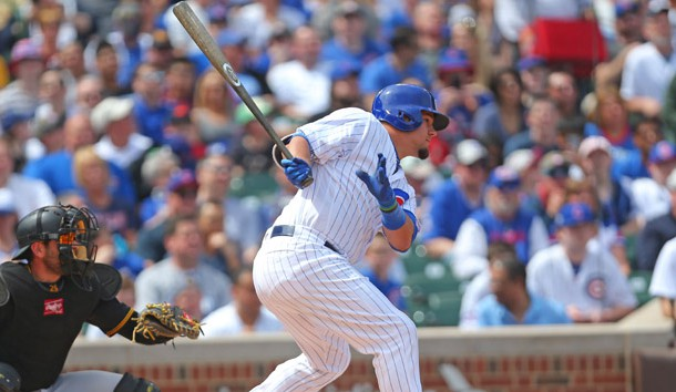 Apr 16, 2017; Chicago, IL, USA; Chicago Cubs left fielder Kyle Schwarber (12) hits a single during the first inning against the Pittsburgh Pirates at Wrigley Field. Photo Credit: Dennis Wierzbicki-USA TODAY Sports