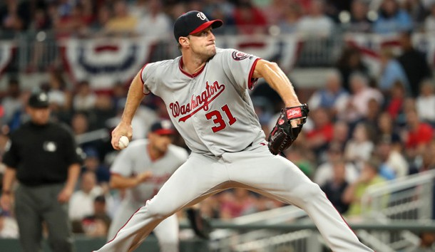 Apr 18, 2017; Atlanta, GA, USA; Washington Nationals starting pitcher Max Scherzer (31) delivers a pitch to an Atlanta Braves batter in the third inning at SunTrust Park. Photo Credit: Jason Getz-USA TODAY Sports