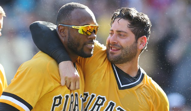 Apr 9, 2017; Pittsburgh, PA, USA;  Pittsburgh Pirates center fielder Starling Marte (L) celebrates with catcher Francisco Cervelli (R) after Marte hit a two run game winning home run against the Atlanta Braves during the tenth inning at PNC Park. The Pirates won 6-5. Mandatory Credit: Charles LeClaire-USA TODAY Sports