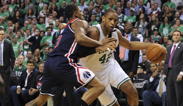 May 15, 2017; Boston, MA, USA; Boston Celtics center Al Horford (42) drives to the basket as Washington Wizards guard Bradley Beal (3) defends during the second half in game seven of the second round of the 2017 NBA Playoffs at TD Garden. Photo Credit: Bob DeChiara-USA TODAY Sports