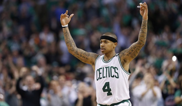 May 2, 2017; Boston, MA, USA; Boston Celtics point guard Isaiah Thomas (4) reacts after defeating the Washington Wizards in game two of the second round of the 2017 NBA Playoffs at TD Garden. Photo Credit: Greg M. Cooper-USA TODAY Sports