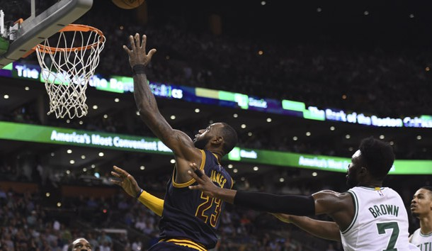 May 17, 2017; Boston, MA, USA; Cleveland Cavaliers forward LeBron James (23) lays the ball in the basket past Boston Celtics forward Jaylen Brown (7) during the second half in game one of the Eastern conference finals of the NBA Playoffs at TD Garden. Photo Credit: Bob DeChiara-USA TODAY Sports