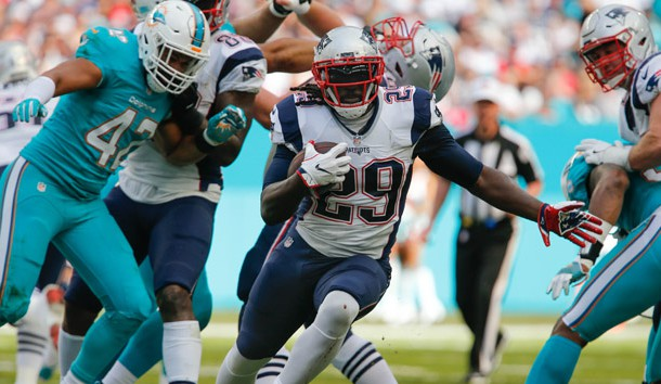Jan 1, 2017; Miami Gardens, FL, USA;  New England Patriots running back LeGarrette Blount (29) during the second  quarter of an NFL football game against the Miami Dolphins at Hard Rock Stadium. Photo Credit: Reinhold Matay-USA TODAY Sports