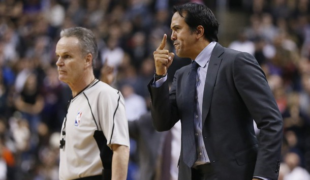 Apr 7, 2017; Toronto, Ontario, CAN; Miami Heat head coach Erik Spoelstra (R) questions a call by official Mike Callahan (L) during a game against the Toronto Raptors at the Air Canada Centre. Toronto defeated Miami 96-94. Photo Credit: John E. Sokolowski-USA TODAY Sports