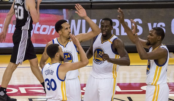 May 14, 2017; Oakland, CA, USA; Golden State Warriors guard Stephen Curry (30) high fives guard Shaun Livingston (34), forward Draymond Green (23) and forward Kevin Durant (35) after a basket against the San Antonio Spurs during the fourth quarter in game one of the Western conference finals of the 2017 NBA Playoffs at Oracle Arena. Photo Credit: Kelley L Cox-USA TODAY Sports