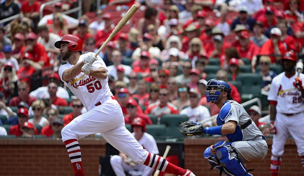 Jun 1, 2017; St. Louis, MO, USA; St. Louis Cardinals starting pitcher Adam Wainwright (50) hits a two run home run off of Los Angeles Dodgers starting pitcher Brandon McCarthy (not pictured) during the second inning at Busch Stadium. Photo Credit: Jeff Curry-USA TODAY Sports