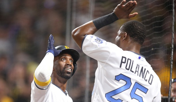 Jun 17, 2017; Pittsburgh, PA, USA;  Pittsburgh Pirates center fielder Andrew McCutchen (left) celebrates his solo home run with right fielder Gregory Polanco (25) against the Chicago Cubs during the sixth inning at PNC Park. Photo Credit: Charles LeClaire-USA TODAY Sports