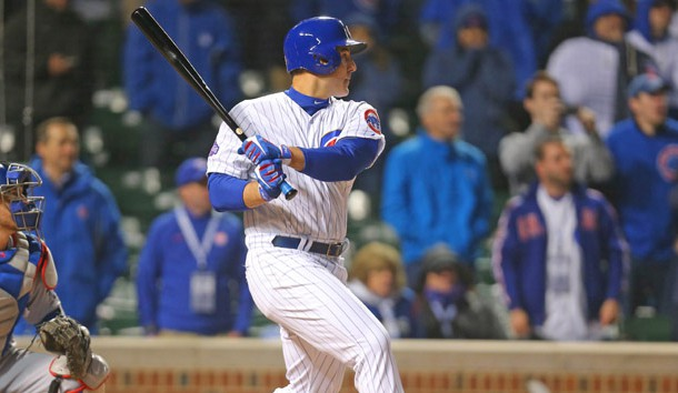 Apr 10, 2017; Chicago, IL, USA; Chicago Cubs first baseman Anthony Rizzo (44) hits the game winning RBI single during the ninth inning against the Los Angeles Dodgers at Wrigley Field. Chicago won 3-2. Photo Credit: Dennis Wierzbicki-USA TODAY Sports